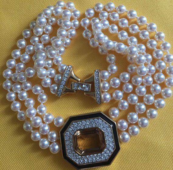 Vintage S.A.L. Faux Pearl & Swarovski crystal Chocker /