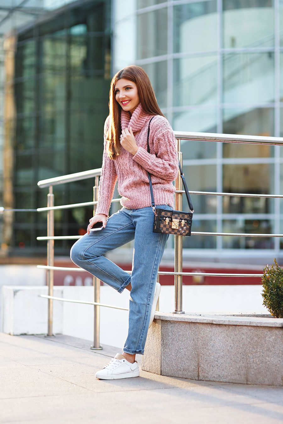 Romwe pink cable knot sweater Shein vintage cut jeans (size S ...