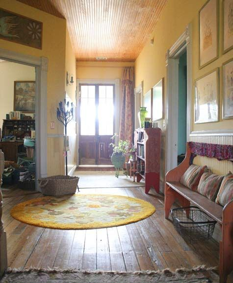 peek: nancy lendved The French entry doors of this restored farmhouse are cypress & came from New Orleans.The French entry doors of this restored farmhouse are cypress & came from New Orleans.