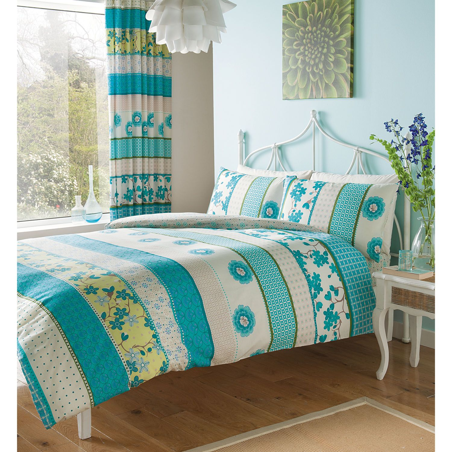 Gaveno Cavailia Hana plete Bedding Set with Curtains in Teal