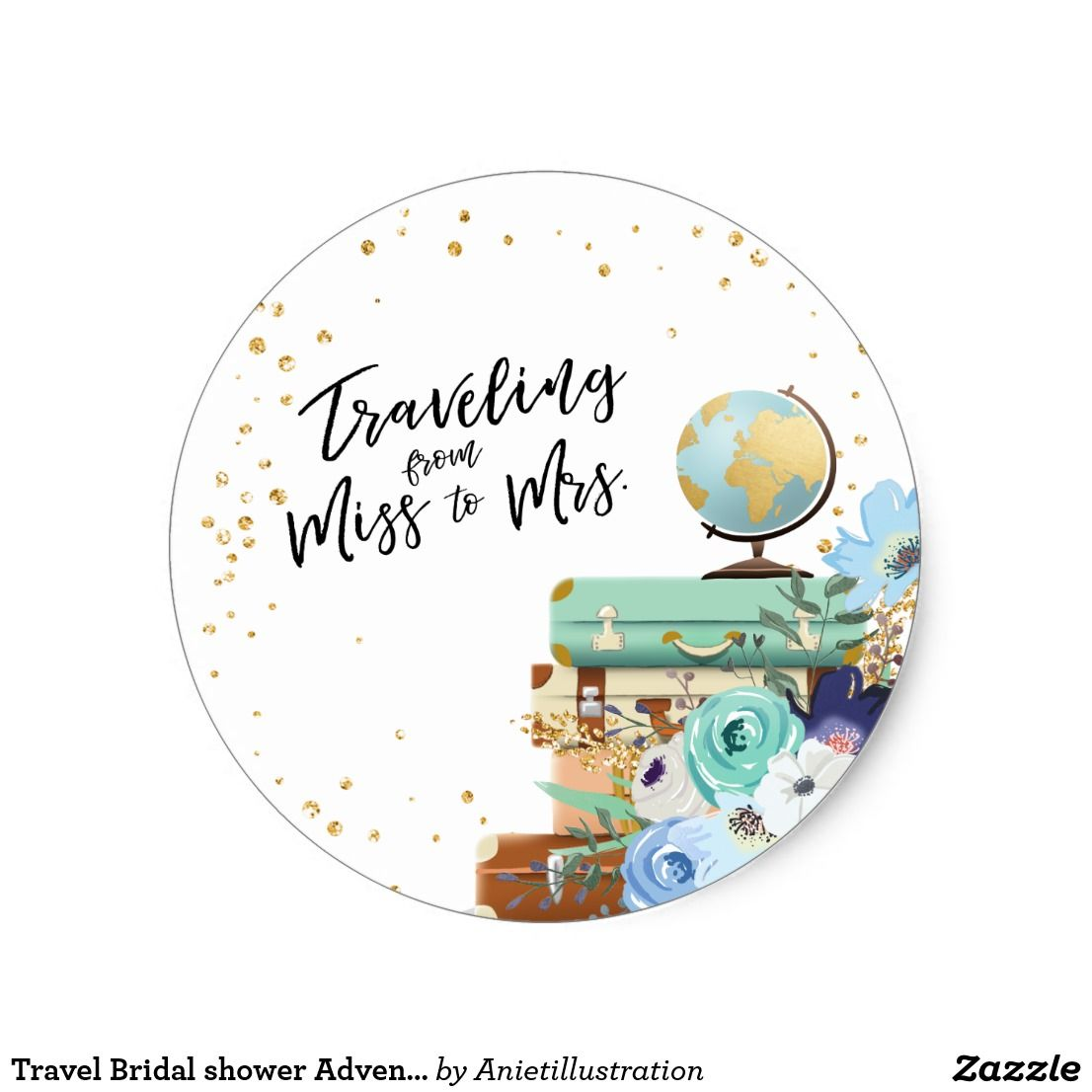 Travel bridal shower adventure miss to mrs favor classic round sticker ♥ your own sticker cupcake topper favor tag or envelope seal travel theme