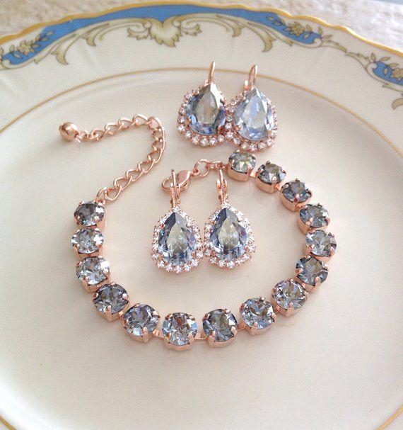 Earrings Swarovski Dusty Blue Wedding Rose Gold Earrings Etsy Etsy Earrings Gold Bridesmaid Jewelry Bridal Jewelry
