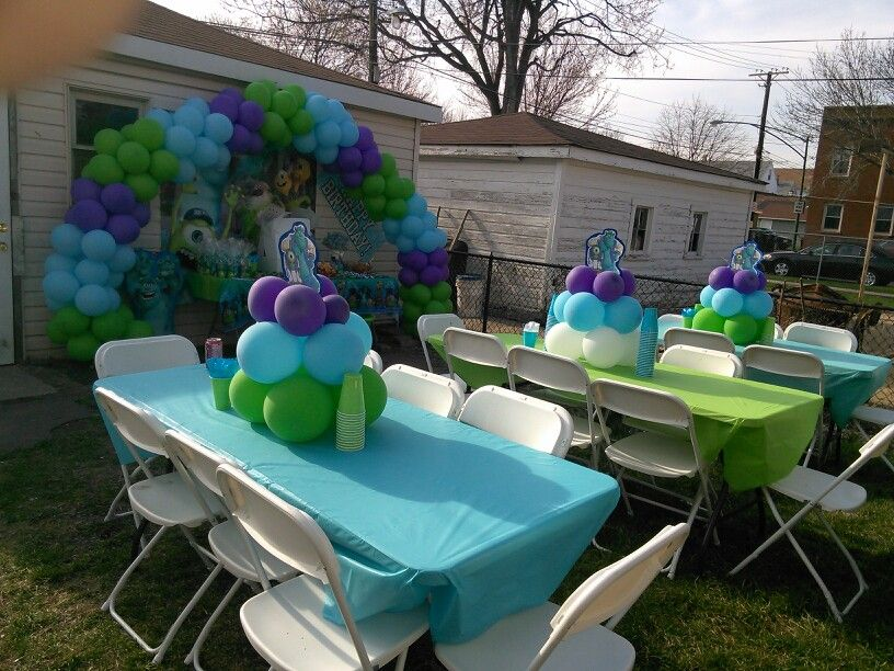 My Sons Monster University Back Yard Party Set Up