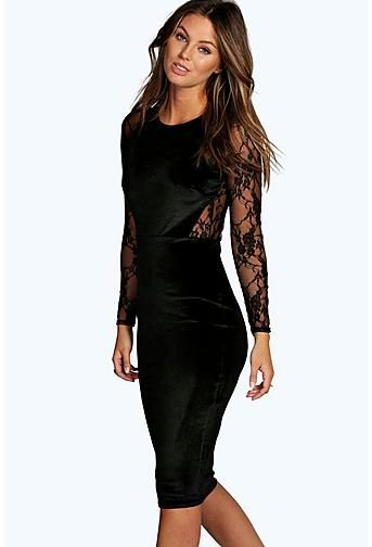 bd1c3a2d34f Shea Velvet & Lace Long Sleeve Bodycon Dress | Occasion Wear ...