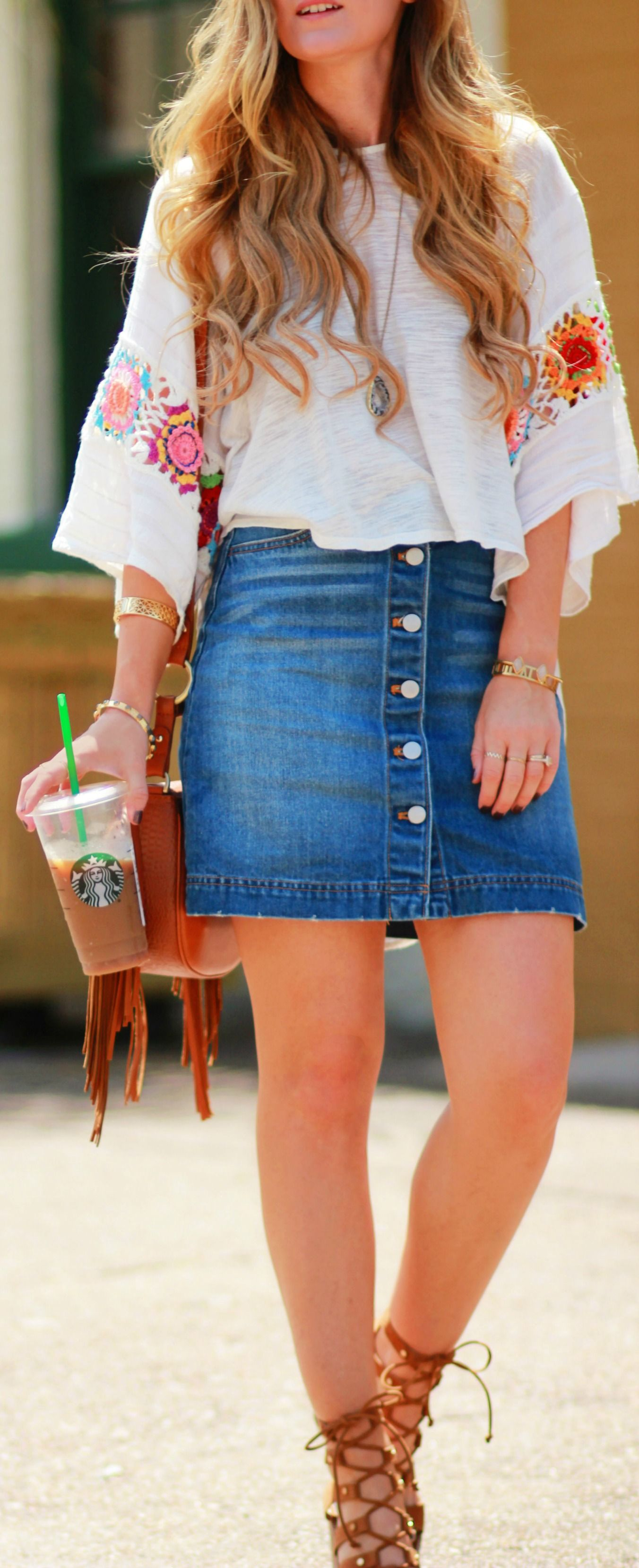 Easy summer weekend outfit with crochet top, denim button up skirt, and  lace up