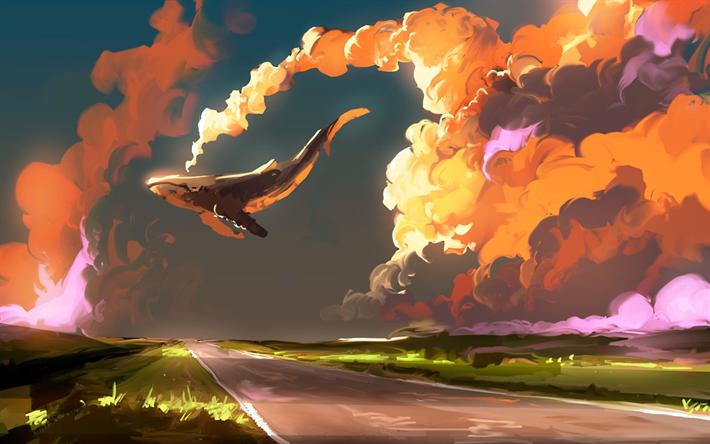 Herunterladen hintergrundbild fliegende wal, wolken, sonnenuntergang ...
