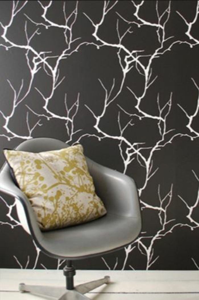 Muster in Schwarz-Weiß lassen Sie eine Wandgestaltung mit Farbe - wohnzimmer schwarz wei