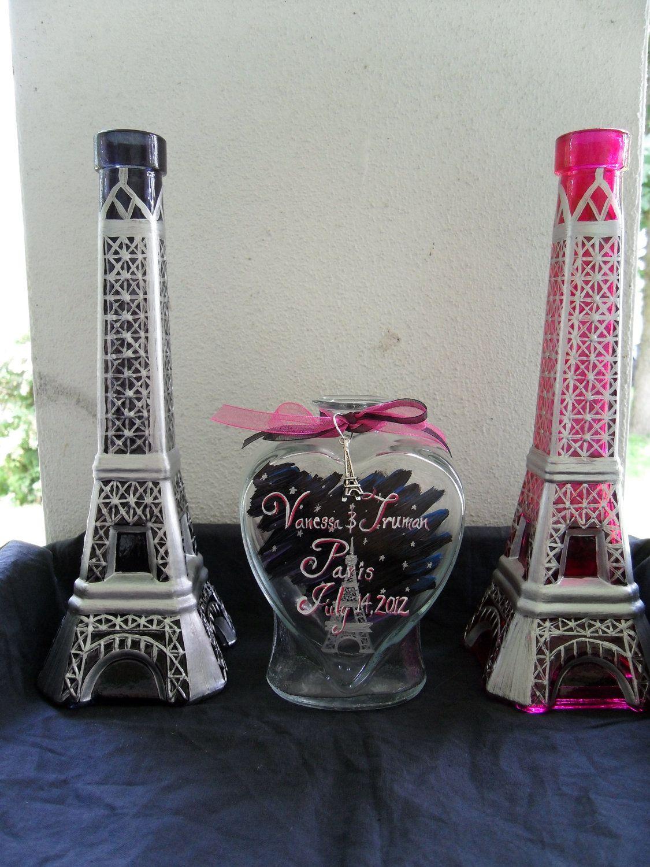 Beach wedding sand ceremony sets  Paris  Eiffel tower themed sand unity set and toasting flutes