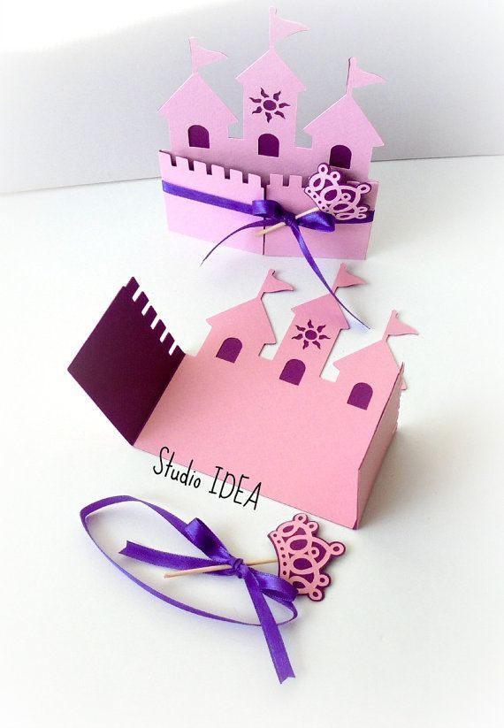 Photo of 12 princess castle invitation card with crown wand & ribbon – choose YOUR color set of 12 pieces