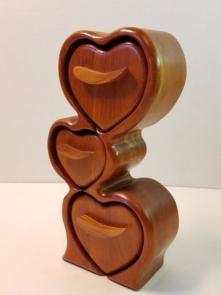 Vintage Hand Carved Wood Heart Jewelry Ring Stash Box Spice Cabinet Drawers 11 Wood Hearts Hand Carved Wood Wood Jewelry Box