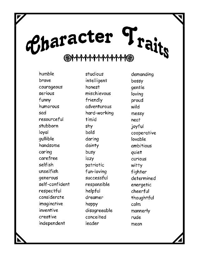 Love Charactrr 6th Grade Character Traits List Reading