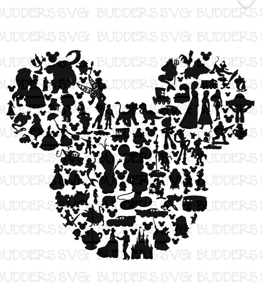 Disney Character Silhouette Mickey Head Disney Pinterest