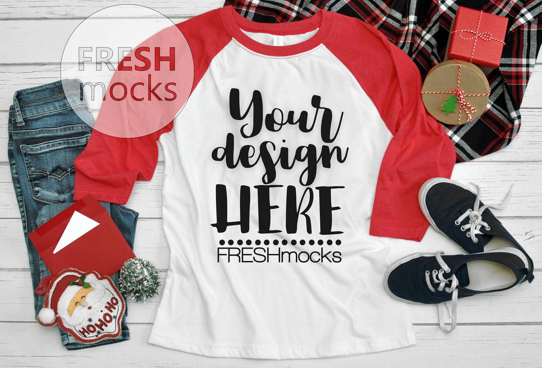 Download Next Level 3352 Raglan Tshirt T Shirt Tee Mockup Red Raglan Christmas Winter Mock Up On White Wood Flat Lay Rustic Holida Raglan Tshirt Tee Shirts Shirts