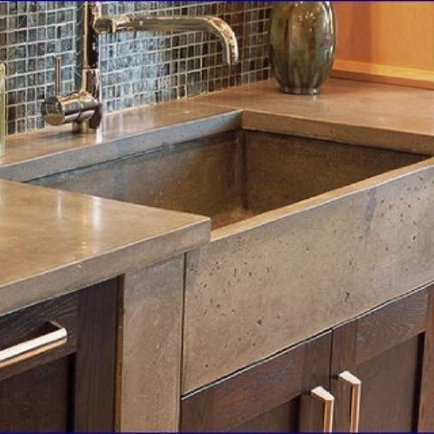 Cement Kitchen Sink Storage Organizers Elegant Brown Sinks Solid