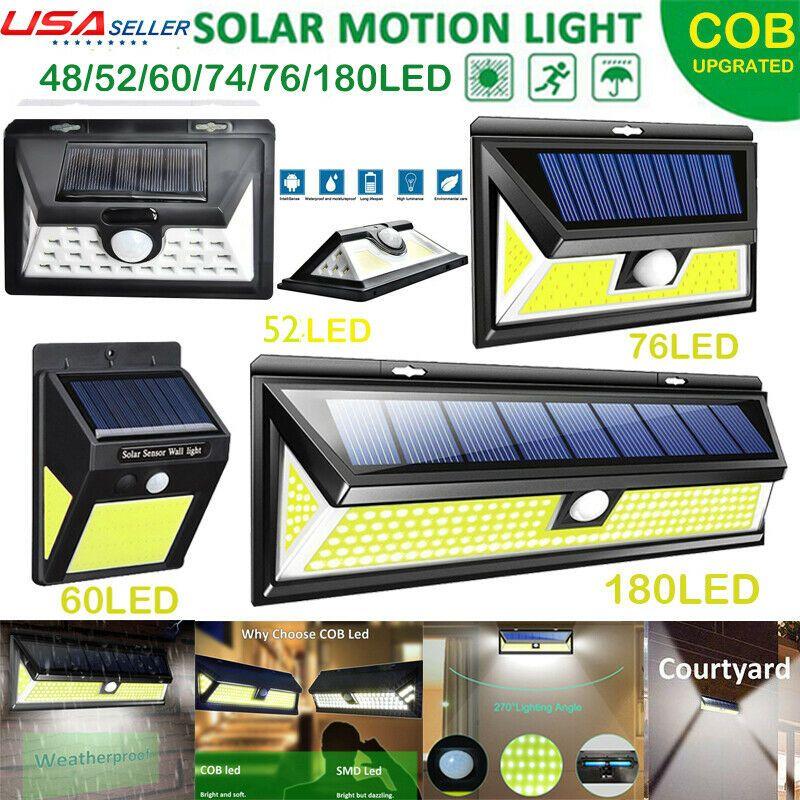 180COB LED Solar Power PIR Motion Sensor Light Outdoor Garden Security Wall Lamp