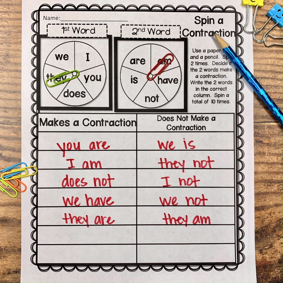 Contractions are a huge skill for second grade. We use contractions in our  everyday speech. It's… Video   Contraction worksheet [ 1080 x 1080 Pixel ]