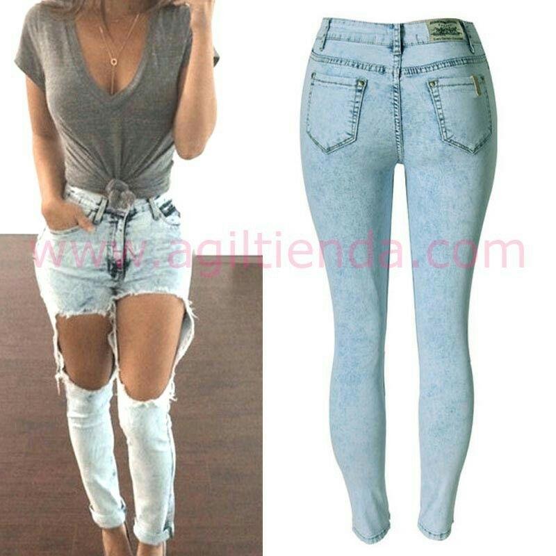 Sexys Jeans Mujer Con Llamativo Estilo Rotos Y Gastados Pars Lucir Fabulosas Marcando Las Ultimas Tendencias De Vaqueros Rotos Pantalon Roto Tejanos