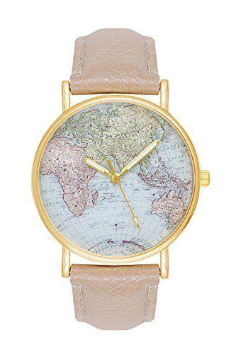 Sale Preis Damenuhr Weltkarte Uhr Globus Karte Beige Creme