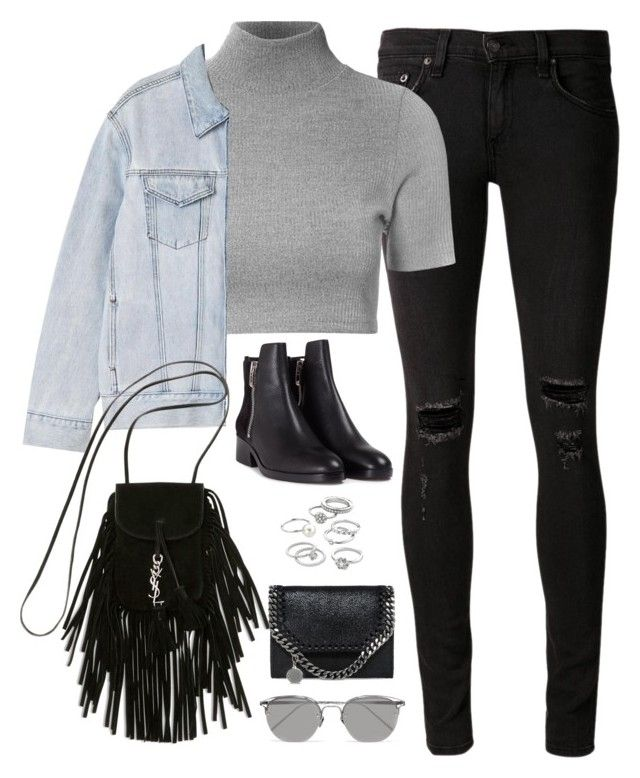 """""""Sem título #4855"""" by fashionnfacts ❤ liked on Polyvore featuring rag & bone/JEAN, Glamorous, P & Lot, 3.1 Phillip Lim, Yves Saint Laurent, Linda Farrow, STELLA McCARTNEY and Candie's"""