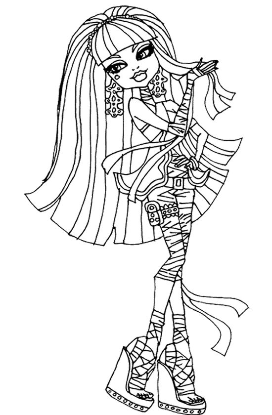Cleo De Nile Playing With Her Hair Coloring Page Monster High