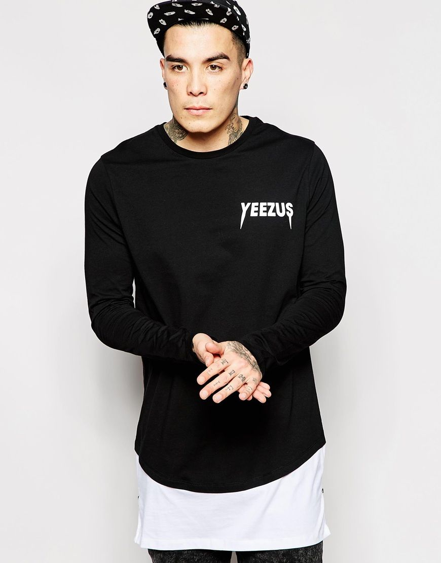 fee0eb73 Image 2 of ASOS Super Longline Long Sleeve T-Shirt With Yeezus Print And  Side Zips
