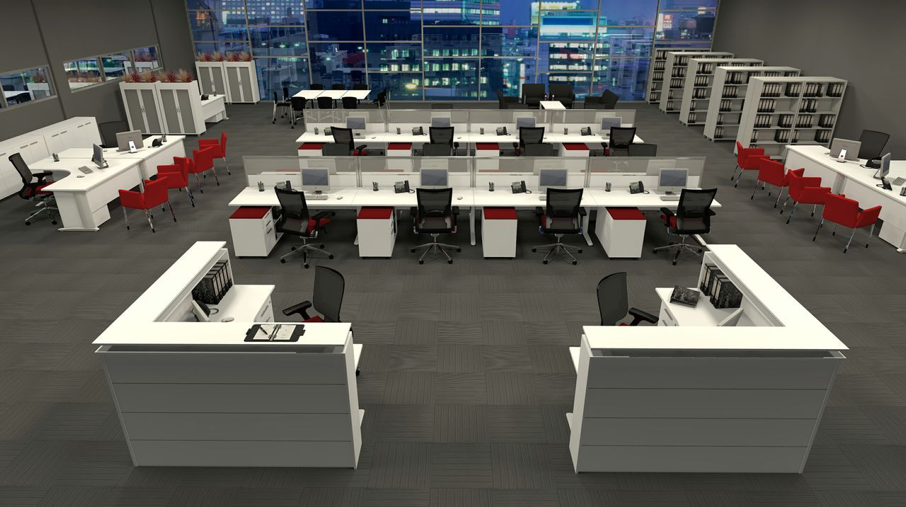 Modern workstation design layout for open plan office for Office desk layout ideas