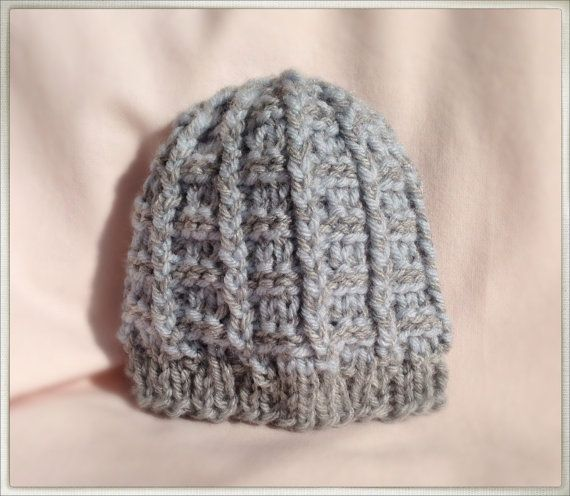 Baby Hat  Blue and Gray Fisherman's Rib Baby Beanie by SMProcopio, $20.00