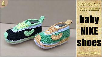 Baskets Nike bébé au crochet 1 Baby sneakers Nike crochet