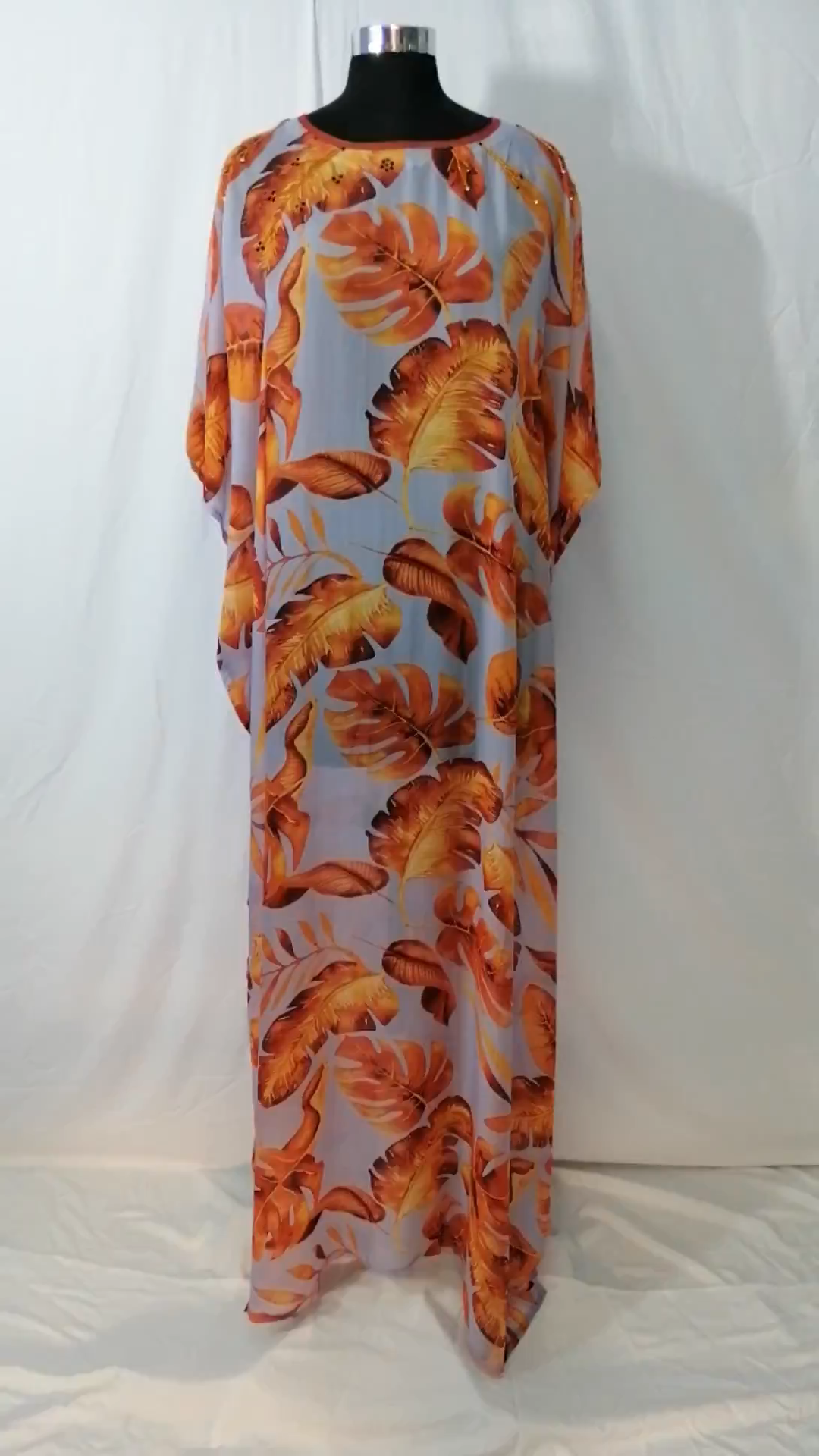 Feather Print designer silk kaftan long beach cover up kaftan dress Plus size sequin kaftan cruise wear caftan resort wear for women 411