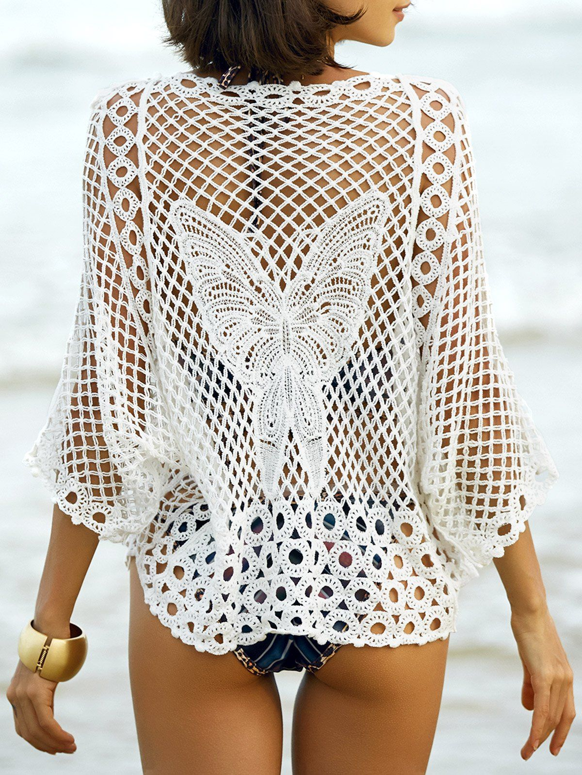 Hollow out butterfly pattern ladys cover up crochet butterfly crochet fashion hollow out white lace crochet butterfly pattern beach cover up bankloansurffo Images