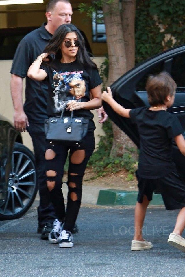 c613c3c8bf2 Kourtney Kardashian wearing Urban Outfitters Tupac All Eyez On Me Tee