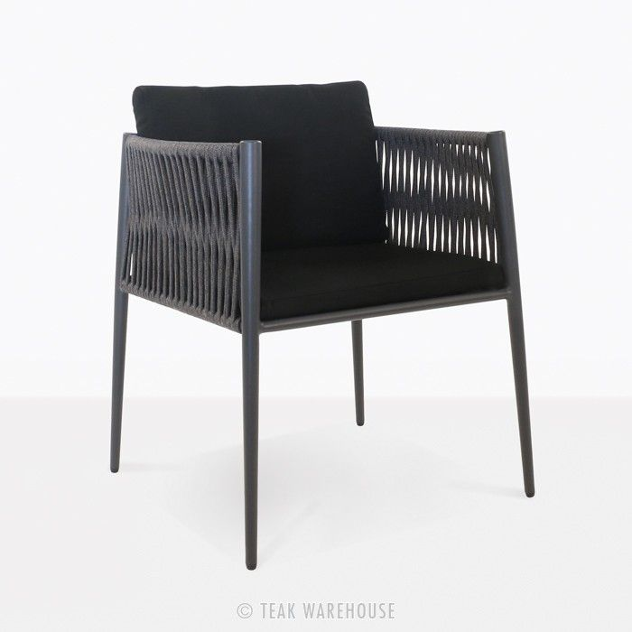 luna rope outdoor dining chair black