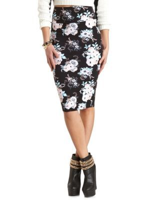 9cf3c65402a6 floral print midi pencil skirt charlotte russe 14.99
