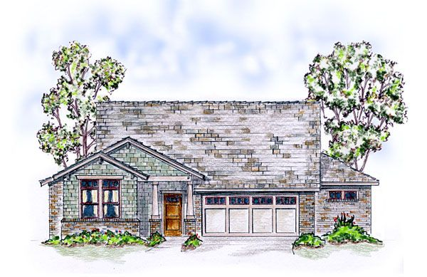 Elevation of Bungalow   Craftsman   Ranch   Traditional   House Plan 56567
