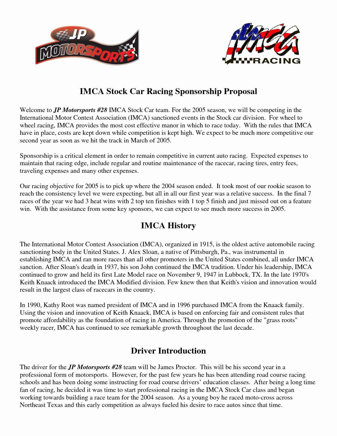 Sports Team Sponsorship Proposal Template Lovely Sponsorship Proposal Letter Template Collection Sponsorship Proposal Proposal Templates Sponsorship Letter Race car sponsorship proposal template