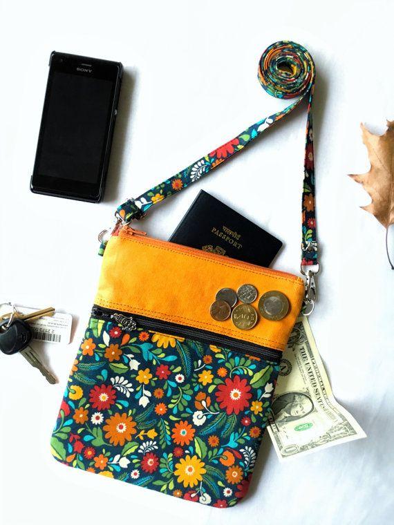 Small Shoulder Bag Purse Mini Crossbody Sling Cross Body Travel Zipper Fl Orange Handmade 100