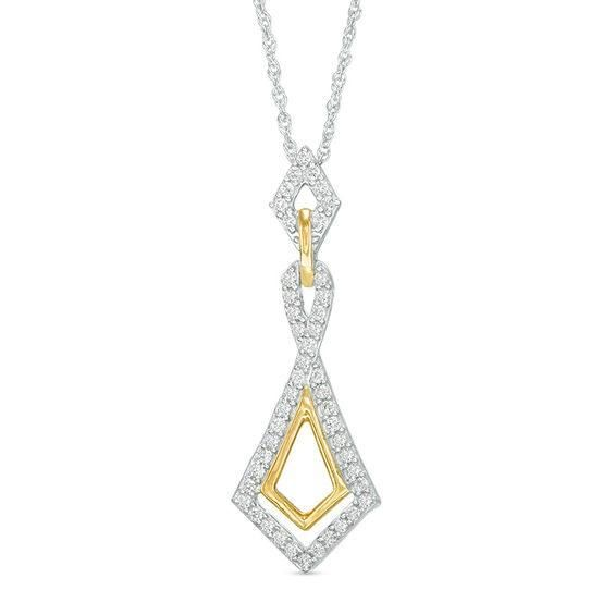 Zales 1/20 CT. T.w. Diamond Laser-Cut Square and Kite-Shaped Pendant in 10K Gold sTmSEErFa