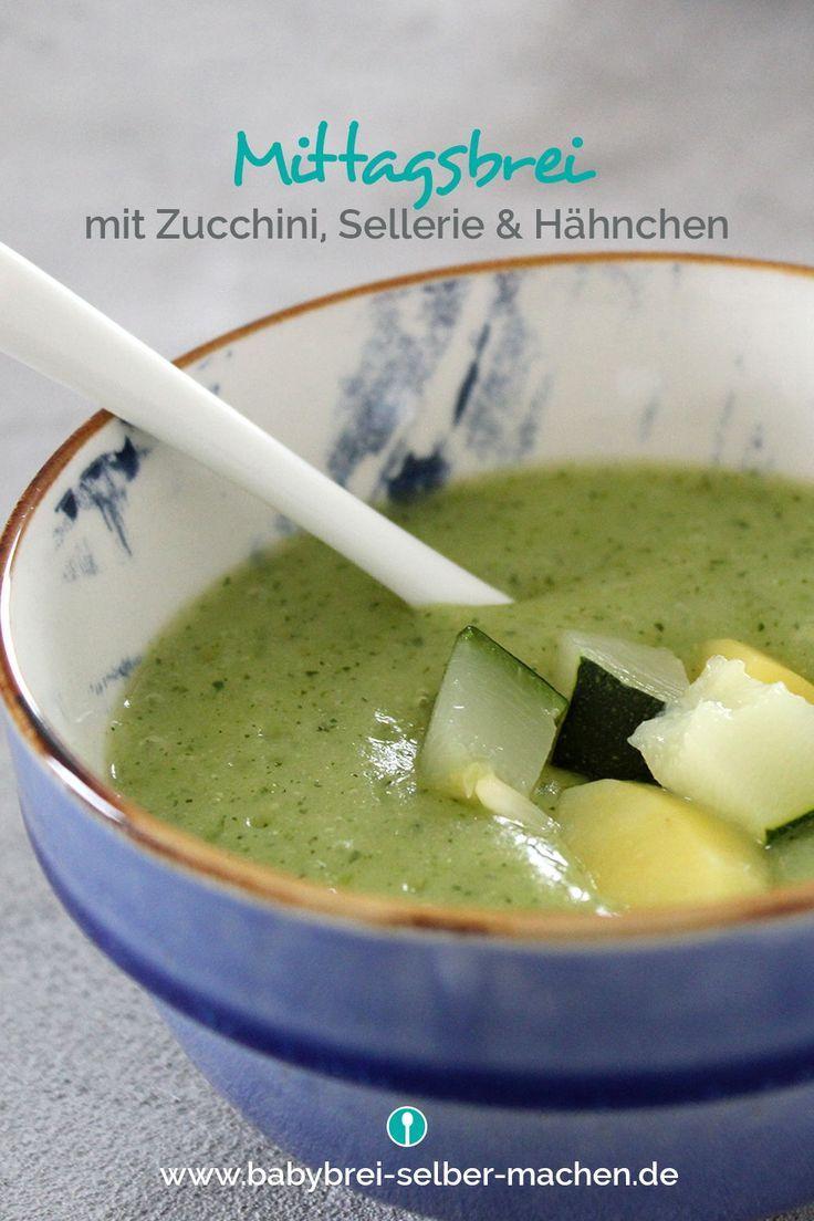 Sommerlicher Zucchini-Sellerie-Brei mit Hähnchenbrust ...