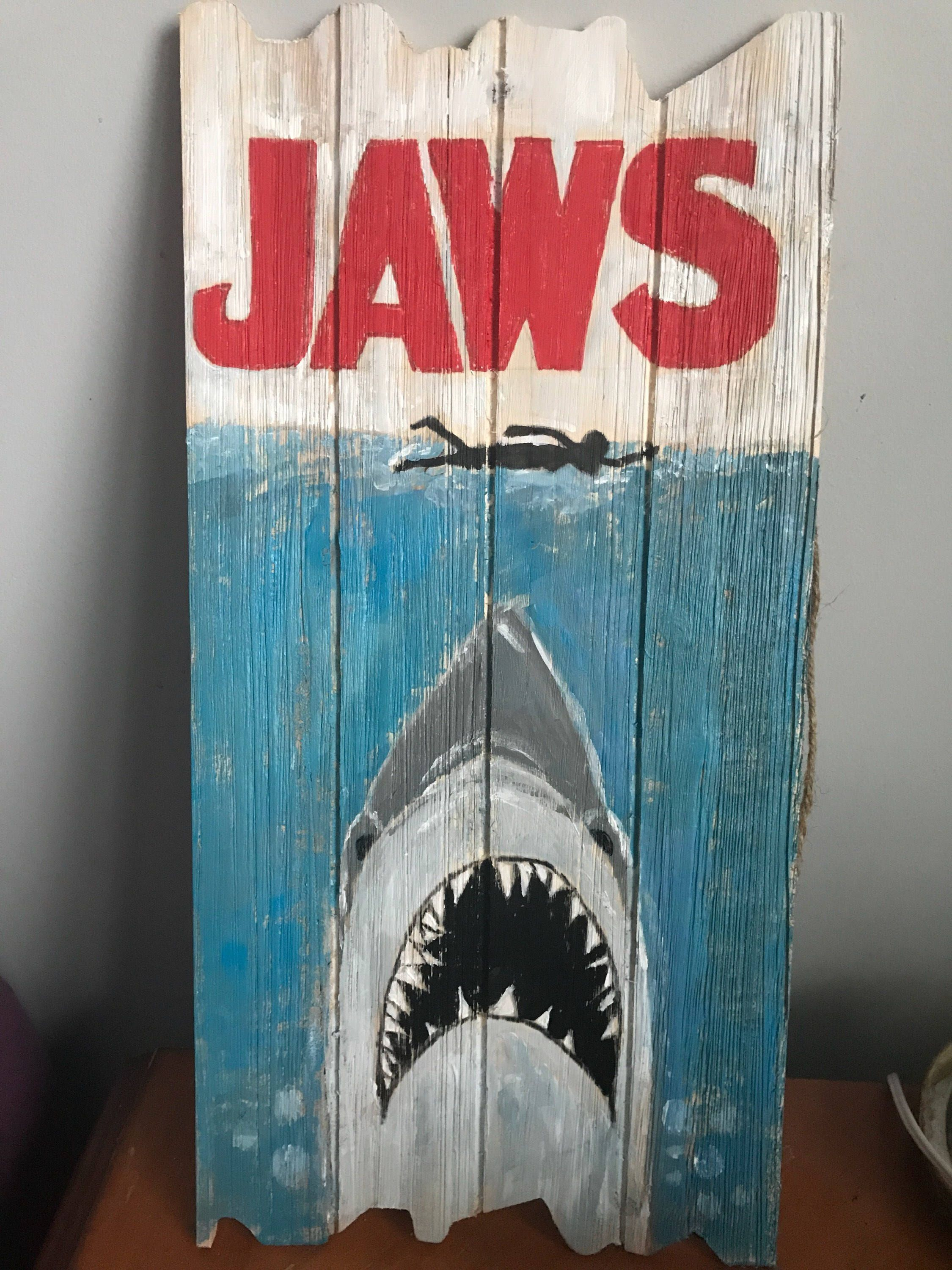 A Personal Favorite From My Etsy Shop Https Www Etsy Com Listing 539997341 Jaws Wooden Sign 189 X 96 X 03 Wooden Signs Surfer Room Decor Shark Decor