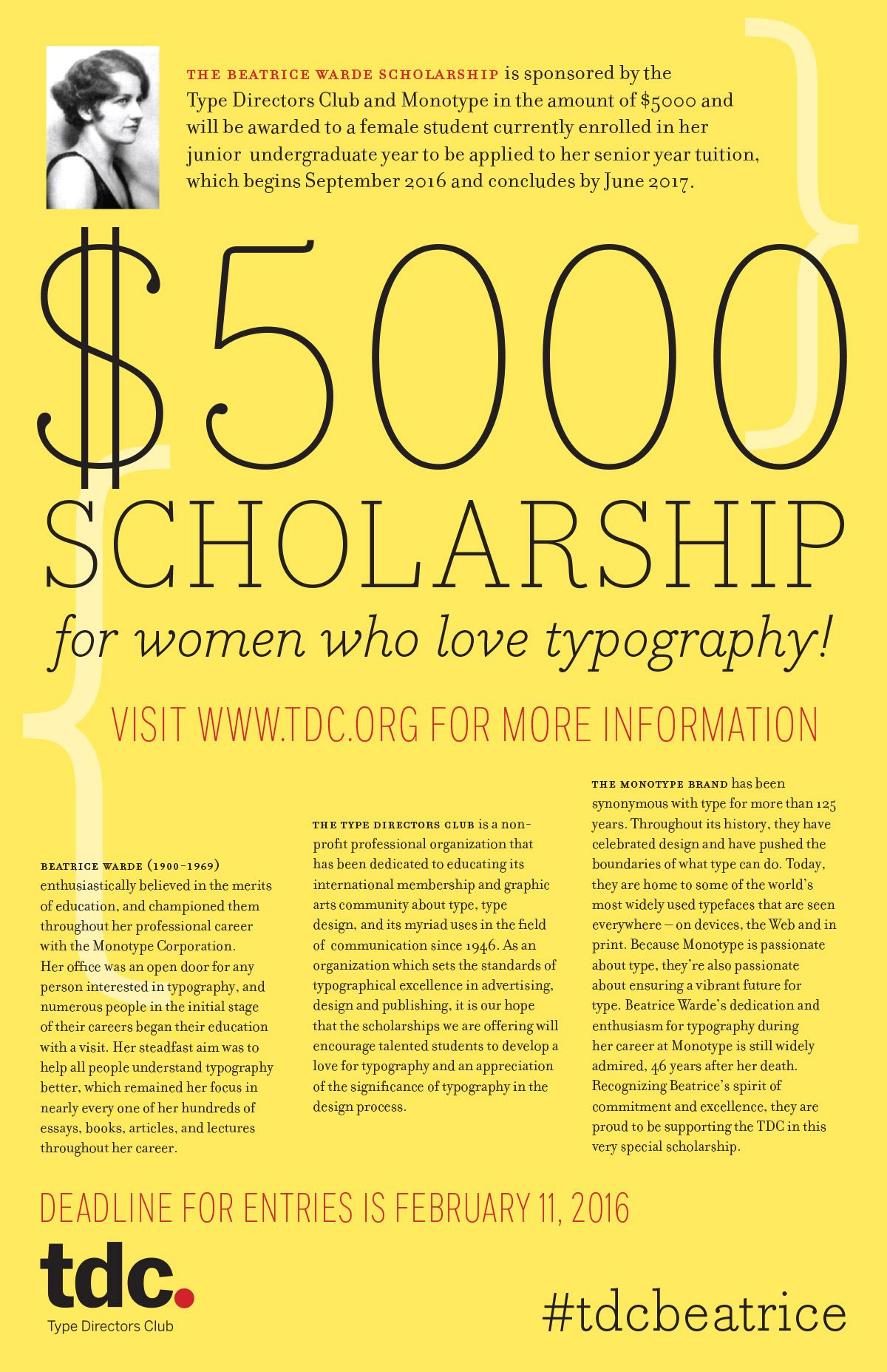 Awards Beatrice Warde The Type Directors Club Scholarships Application Scholarships Custom Writing