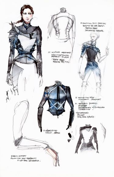 """Photo of See Exclusive Sketches of the """"Mockingjay"""" Battle Outfit"""
