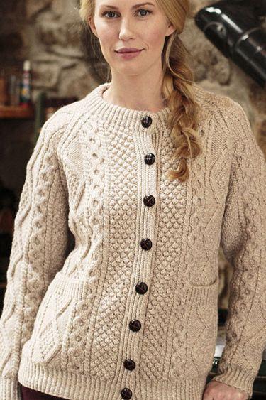 Carraig Donn Irish Aran Wool Sweater Womens Cable Knit