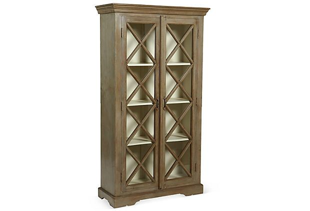 One Kings Lane - The French Connection - Wood and Glass Cabinet, Gray