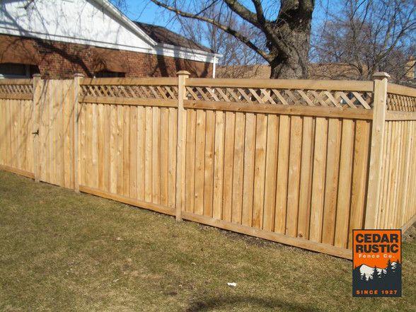 Board On Batten Privacy Fence W Lattice Top Fence With Lattice Top Backyard Fences Rustic Fence