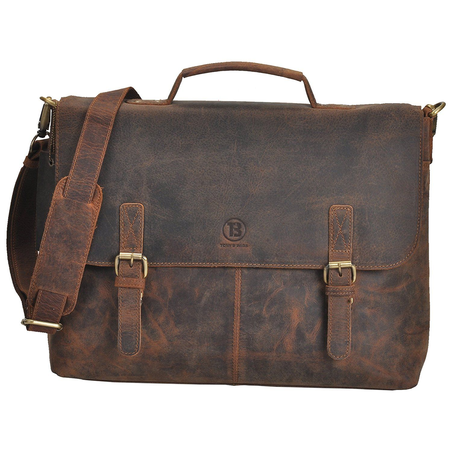 56a90009487f AmazonSmile  TONY S BAGS Brown Crazy Horse 15.6 Inch Retro Buffalo Hunter  Rustic Leather Laptop Messenger