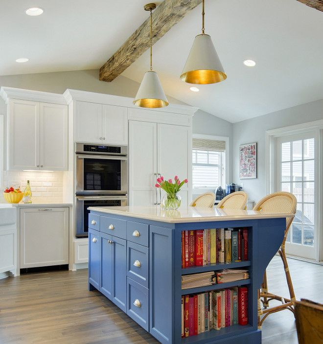 kitchen island benjamin moore 804 chicago blues perimeter cabinets rh pinterest com