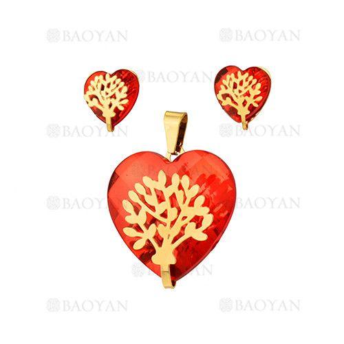 juego dije y aretes de corazon rojo cristal con arbol dorado en acero inoxidable…