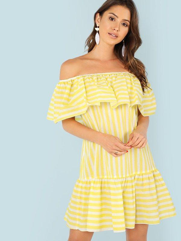 310e20811748 Foldover Front Ruffle Hem Striped Dress -SheIn(Sheinside)