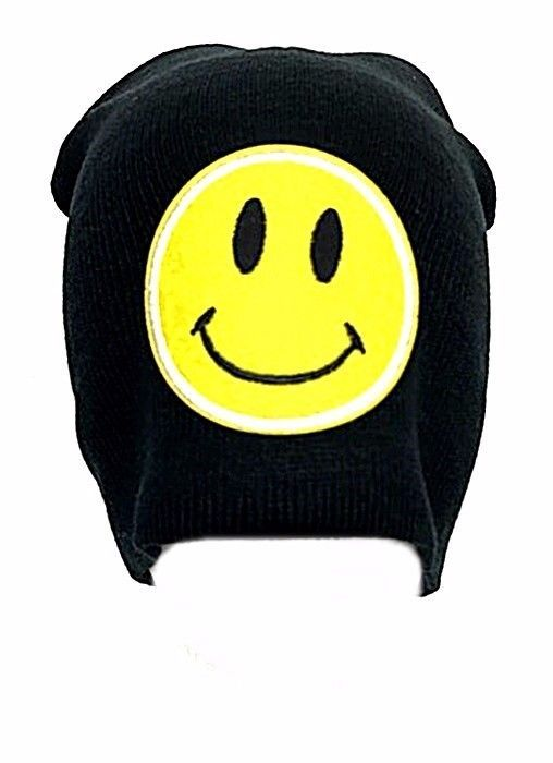 8387a583176 Yellow Happy Face Smiley Beanie Black Emoji Emotion Hat Ski Cap