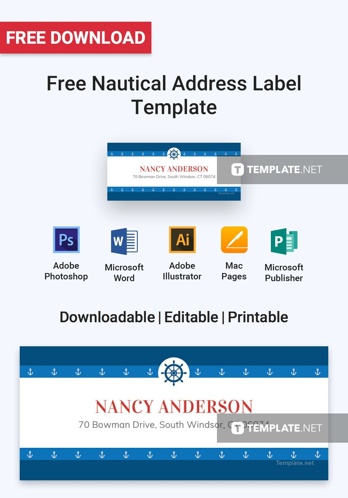 Free Nautical Address Label Template Word Doc Psd Apple Mac Pages Illustrator Publisher Address Label Template Label Templates Address Labels Mailing label template for mac
